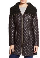 Via Spiga Quilted Coat with Cable Knit Collar