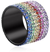 As 29 AS29 Women's 18ct Black Gold Plated Sterling Silver Round Rainbow Coloured Sapphires Lana Pinky Ring - Size F