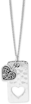 "Lois Hill Heart & Dog Tag Pendant Necklace in Sterling Silver, 18"" + 2"" extender"