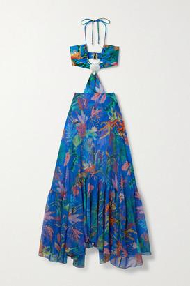 PatBO Oasis Cutout Ruffled Printed Chiffon And Stretch-jersey Halterneck Maxi Dress - Blue