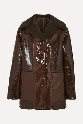 Kassl Editions - Reversible Lacquered Textured-leather And Faux Shearling Coat - Brown