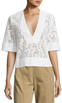 A.L.C. Virginia Cropped Abstract Lace Top, Eggshell