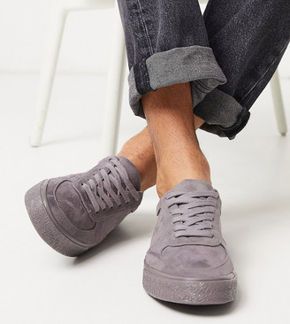 Asos DESIGN Wide Fit sneakers in gray faux suede