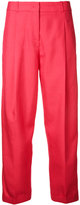Jil Sander Navy cropped trousers - women - Silk/Cotton - 36