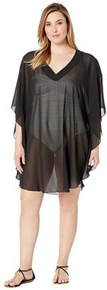 Maxine Of Hollywood Swimwear Plus Size Solid Chiffon Caftan Cover-Up (Black) Women's Swimwear