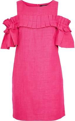Badgley Mischka Cold-shoulder Pleated Woven Mini Dress