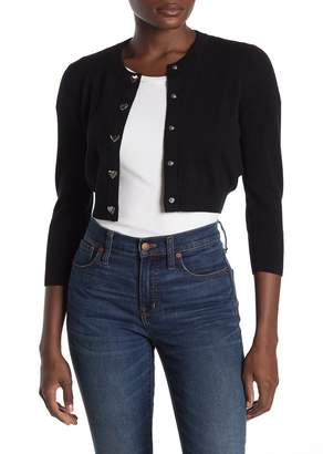 Love Moschino Wool Blend Heart Closure Cropped Cardigan