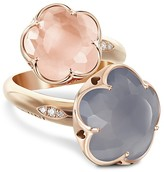 Pasquale Bruni 18K Rose Gold Wrap Ring with Rose Quartz, Chalcedony and Diamonds