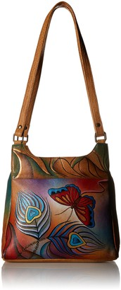 Anna by Anuschka Satchel Handbag | Genuine Leather | Peacock Butterfly One Size