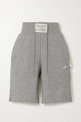 Adam Selman Sport Melange Cotton-blend Jersey Shorts - Gray