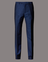 Autograph Blue Tailored Fit Wool Trousers
