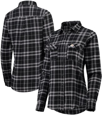 Antigua Women's Black/Gray Pittsburgh Steelers Stance Flannel Button-Up Long Sleeve Shirt