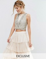 Lace and Beads Lace & Beads Crop Top with Floral Embellishment