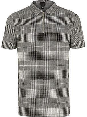 River Island Grey check print zip neck polo shirt