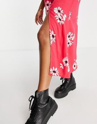 New Look square neck split hem midi dress in red floral