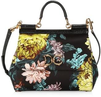 Dolce & Gabbana Sicily Floral Jacquard & Snakeskin Top Handle Bag