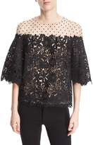 Monique Lhuillier Floral-Guipure Dotted Illusion Tulle Elbow-Sleeve Cocktail Blouse