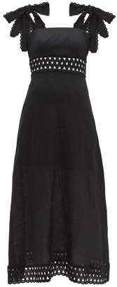 Zimmermann Verity Tie-shoulder Linen Maxi Dress - Womens - Black
