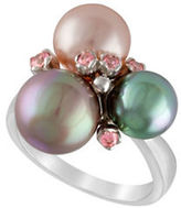 Majorica Grey, Nuage, Rose Pearl and Sterling Silver Cluster Ring