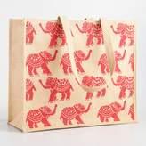 World Market Orange Elephant Jute Tote Bag
