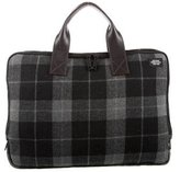 Jack Spade Plaid Leather-Trimmed Briefcase