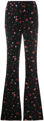 Derek Lam 10 Crosby Odessa Slim Flare Splatter Floral Trousers