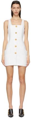 Balmain White Metallic Tweed Short Dress