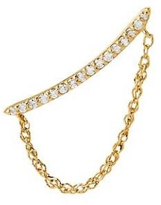 Celara 14K Yellow Gold & Diamond Chain Single Crawler Earring