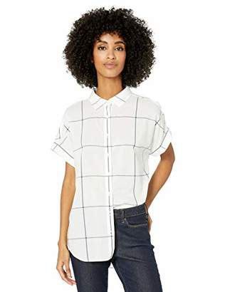 Goodthreads Lightweight Poplin Short-sleeve Button-front Shirt White/Navy Windowpane, XS