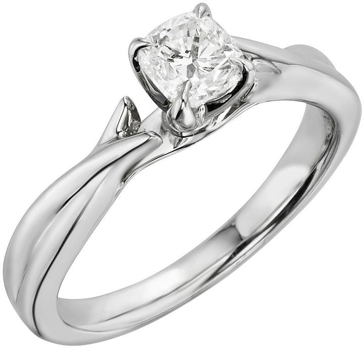 Cushion-cut gia certified diamond solitaire twist engagement ring in 14k white gold (3/4 ct. t.w.)