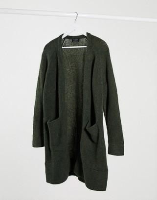 Selected Anna long sleeve knit cardigan in dark green