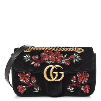 Gucci GG Marmont Matelasse Embroidered Floral Gems Mini Black