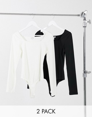 Glamorous 2 pack long sleeve scoop neck body in black and white
