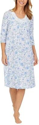 Carole Hochman Plus Size Soft Jersey 3/4 Sleeve Waltz Gown (White/Blue Floral) Women's Pajama