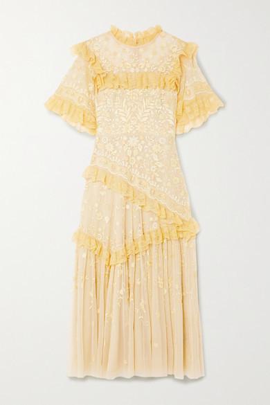 Needle & Thread Jasmine Hemsley Earth Garden Lace-trimmed Embroidered Tulle Midi Dress - Yellow