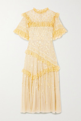 Needle & Thread Jasmine Hemsley Earth Garden Lace-trimmed Embroidered Tulle Midi Dress - Yellow