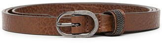 Brunello Cucinelli Crackled Leather Buckle Belt