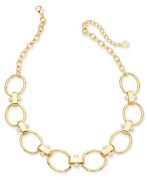 """Alfani Imitation Pearl Link Collar Necklace, 20"""" + 3"""" extender, Created for Macy's"""