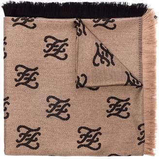 Fendi Karligraphy wool and silk-blend shawl