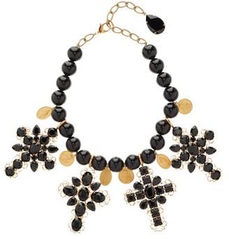 Dolce & Gabbana Beaded Cross-embellished Choker Necklace - Black