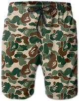 AS-WALL Men's Green Camouflage Beach Shorts Surf Board Breathable Swim Trunks