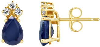 14K Yellow Gold 7x5 Pear Shaped Sapphire & 1/8 Carat T.W. Diamond Earrings