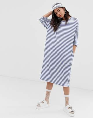 Monki stripe crew neck oversized jersey dress with oversized pockets in white