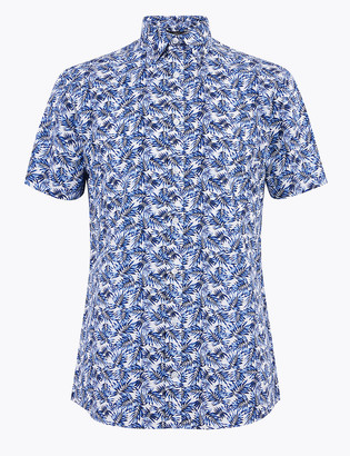 Marks and Spencer Slim Fit Palm Print Cotton Shirt