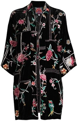 Johnny Was Uriah Embroidered Velvet Kimono