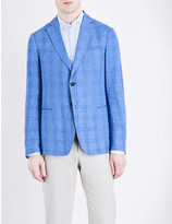 Armani Collezioni Tailored-fit checked linen jacket