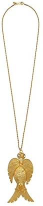 Kenneth Jay Lane 32 Satin Gold with Crystal Face Large Bird Pendant S Hook Necklace (Satin Gold/Crystal) Necklace