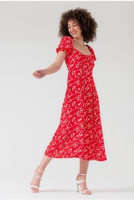 LIENA Puff Sleeve Midi Split Dress in Red Floral