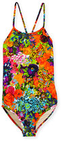 Milly Minis Floral Cross-Back One-Piece Swimsuit, Multicolor, Size 8-14