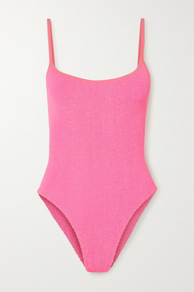 Hunza G + Net Sustain Pamela Seersucker Swimsuit - Bright pink
